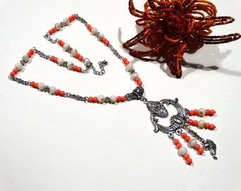 Coral howlite necklace mother of Pearl natural Choker ethnic pendant - gift idea for woman
