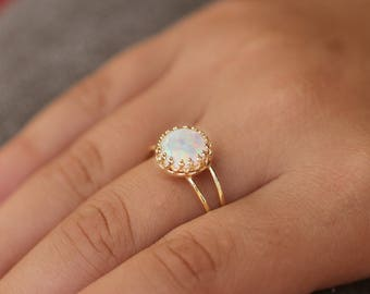 Opal Ring,opal gold ring,White opal ring,dainty opal ring,ladies opal Ring,Engagement gold ring,tiny opal ring,opal statement ring