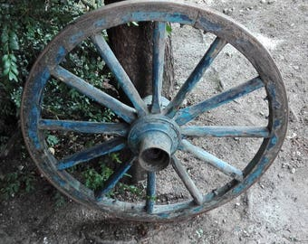 Vintage old wooden cart wagon wheel wheels 76cm