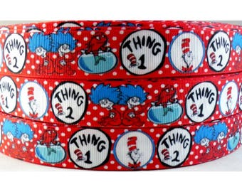 Dr Seuss Thing One/Thing Two 7/8 inch Grosgrain Ribbon