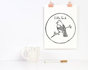 Hand Drawn Premade Logo - One of a Kind OOAK - Cute, Feminine, Animal, Bird Design