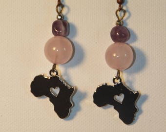 Africa earrings with rose Quartz