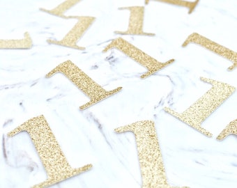 Gold One Confetti, First Birthday Confetti (25 ct), Gold One Confetti,Table Confetti, 1st Bithday Decorations, Pink and Gold Party Confetti