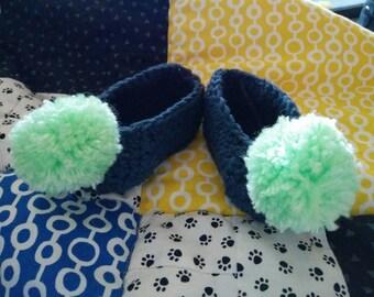 Blue Pompom slippers