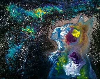 Galactic Cat | Acrylic Canvas Painting