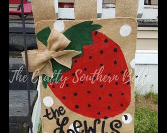 Strawberry Burlap Flag, Burlap Flag, Strawberry, Spring, Summer