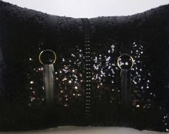 Black Glitzy Sequins with Gold Buckles Luxury Lumbar Pillow Cover