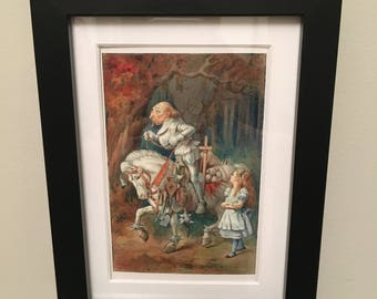 Classic Alice in Wonderland Illustration - framed Postcard - Alice and Knight