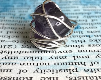 Amethyst Stone Wrapped in Sterling Silver Wire, Ring