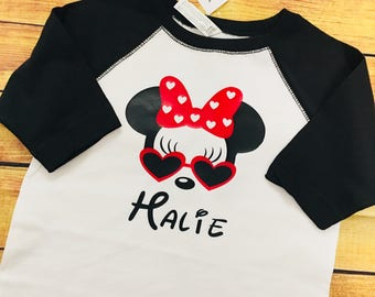 Minnie Mouse with name Youth size sunglasses Disney raglan tee shirt FREE SHIPPING