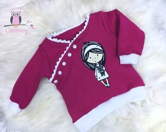 Baby Shirt Pink & white - girl sweater application button placket - sweat sweater hand made children's clothing - tailor made child