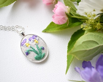 Hand Embroidered Flower Necklace, Viola Flower Pendant, Hand Embroidered Pendant, Violas and Pansies