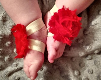 Red and Yellow Barefoot Baby Sandal