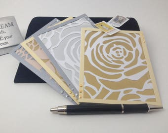 Openwork Metallic Greeting Cards Set of 4 A2 size; 2 Rose, 2 Butterfly design; Metallic Background