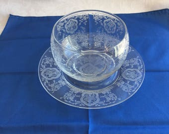 Vintage etched glass mayo bowl with underplate