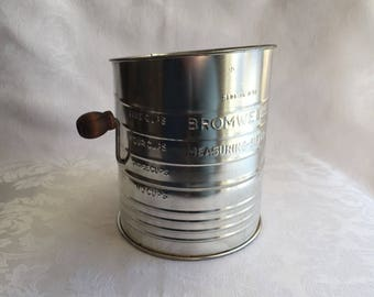 Vintage metal measuring sifter, with patina, by Bromwell's