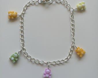 Teddy bears picnic dainty charm bracelet handmade