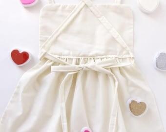Valentines toddler girls apron | darling vintage pinafore | handmade cotton soft beautiful homeschool montessori Waldorf unschool wildschool