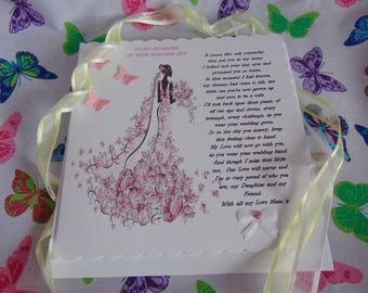 Personalised Handmade Daughter Wedding Card