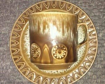 Oven-To-Tableware (crown ducal) cup and saucer