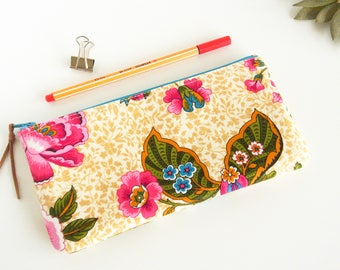 Pink Floral Pencil Case, Pencil Zipper Pouch, Stationery Case, Eye Glass Case, Art Supplies, Small Cosmetic Bag, Gift Idea for Student
