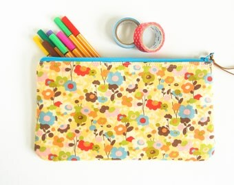 Floral Zipper Pouch, Pencil Case, Floral Zipper Bag, Makeup Bag, Makeup Brushes, Eye Glass Case, Stationery Organizer, Small Cosmetic Pouch