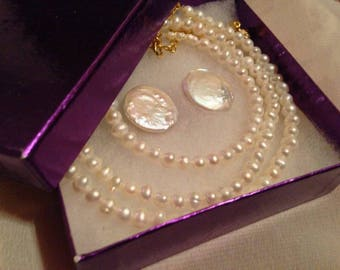 Custom Made Three Piece Jewelry Set, Necklace Bracelet and Earrings or Plugs - Bridal Set - Prom - Special Event