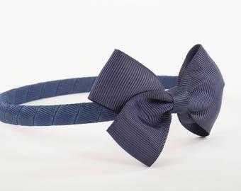 Navy Grosgrain Bow Headband,Back to school,School hair accessories,Navy Headband,hair accessories,childs headband,bow headband,