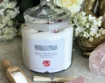 Rose Quartz Epsom Salts Glass Jar with Rose Buds and Wooden Scoop