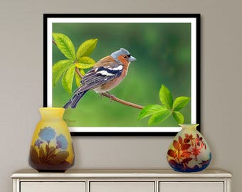 Digital painting, bird trees, digital download and print on canvas or paper art