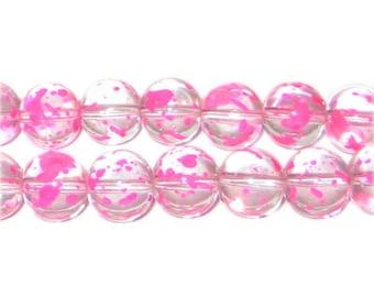 10mm Peony Spray Glass Beads, approx. 21 beads
