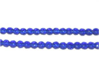 """4mm Navy Faceted Round Glass Bead, 12"""" string"""