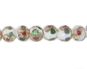 8mm White Round Cloisonne Bead, 7 beads