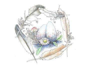Speckled Nest - Original Hand Drawn Art