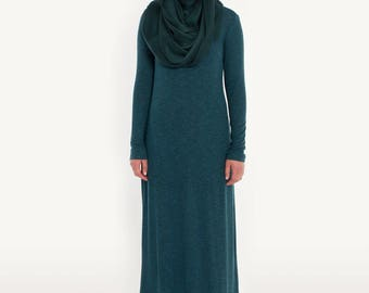 Alawa rpunded dress- petrol blue extra tall