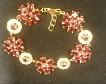 Ladies Adjustable Ruby and White Sapphire Gold Plated Bracelet