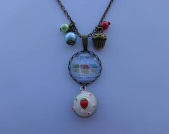 "Long necklace mi bronzes cabochon glass 20mm ""Cake cupcakes"" theme."
