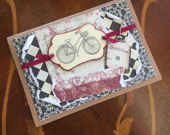 Bicycle Themed Vintage style Card, Happy Birthday, Any Occasion,  Blank card, Handmade, Multi-layered, Goodtimes, Travel, Black and Red,