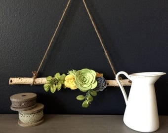 Floral Modern or Vintage Wall Hanging Wreath Decor Birch Tree Branch for Gift Wedding Home