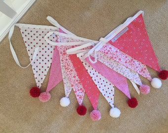 3 metres of handmade double sided bunting trimmed with pom poms