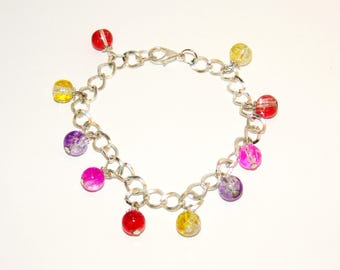 Silver Plated Multi-Color Crackle Glass Beaded Chain And Link Lustrous Bracelet