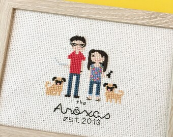 Cross Stitch Family Portrait. Gift for Her. Statement Wife Gift . Personalized gift 2nd anniversary cotton anniversary gift . pet portrait