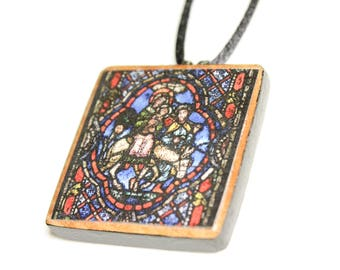Stained Glass #4 Wooden Pendant