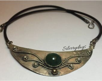 925 Silver Half-Moon Shaped, Leather Cord ,Hand Made Necklace Green Agate Stone