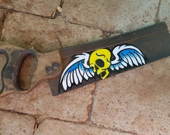 Hand Painted Saw Art - Flying Skull