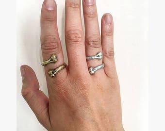Adjustable Twisted Bone Ring