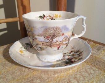 "Vintage Royal Albert ""Cottage Garden"" series - Winter tea cup and saucer"