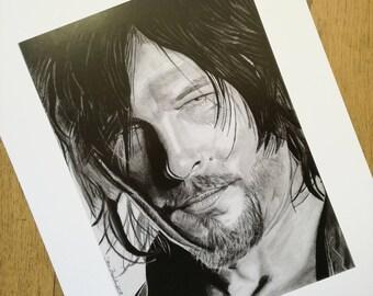 Daryl Dixon pencil drawing - high quality print