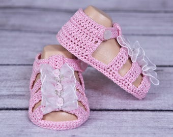 CROCHET PATTERN - Crochet Thread Booties - Sandals For Newborns And Young Babies 0 - 3 Months PDF Pattern
