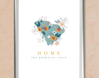 HOME floral graphic design by State  - custom states, countries and combinations available!